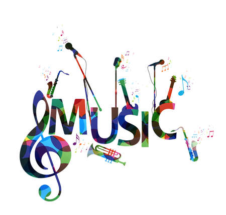 Vector Illustration of Colorful music notes background, abstract sign and symbol Vettoriali