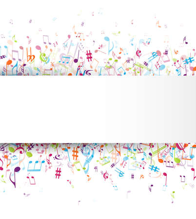 Colorful music notes background isolated on white Ilustrace