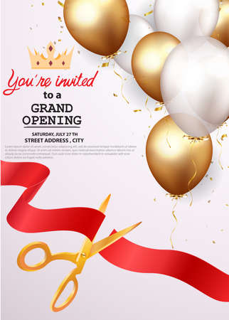 Vector Illustration of Grand opening card design with gold ribbon and confetti