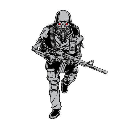 Skull Soldier Army Bring Gun