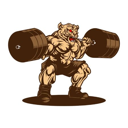 Tiger Weightlifting Gym Sport Hand Drawn Vector Illustration