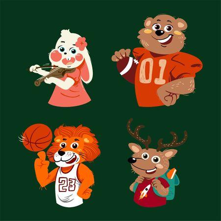 Handdrawn vector set of cute  animals wearing clothes illustration Standard-Bild - 129784805