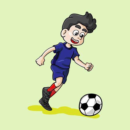 handdrawn vector kid playing football illustration
