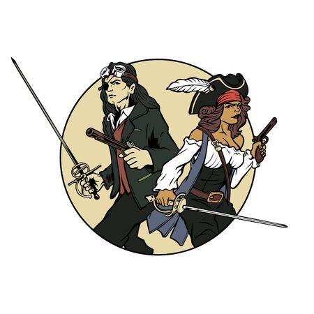 handdrawn vector retro man and woman pirates bring gun and sword Illusztráció
