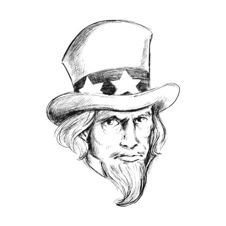 Hand drawing Vector Illustration Of Uncle Sam Portrait Çizim