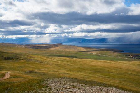 Mountains far ahead at Lake Baikal