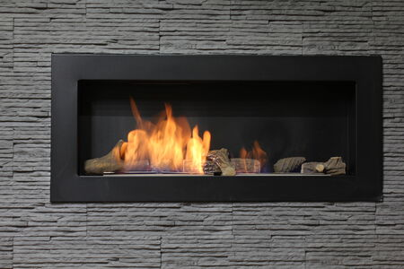 interior fireplace on bio fuel