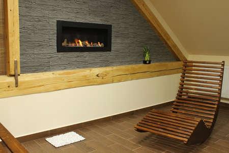 interior fireplace on bio fuel photo