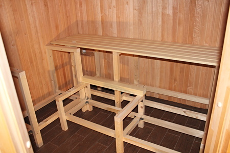 roofed house: Construction of saunas home  interior Finnish sauna  Stock Photo