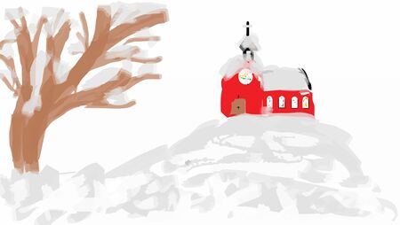 church family: Winter snowy landscape with a church on the hill (child