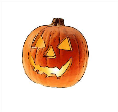 Halloween pumpkin - children drawing Halloween pumpkins Stock Photo