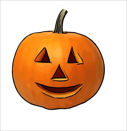 fall images: Halloween pumpkin - children drawing Halloween pumpkins Stock Photo
