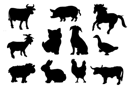 Farm animals silhouette. Vector