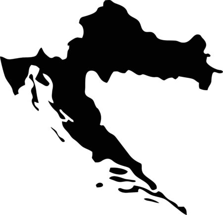 Silhouette maps European country of Croatia. Vettoriali