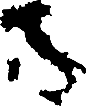 Silhouette maps European country of Italy. Illustration