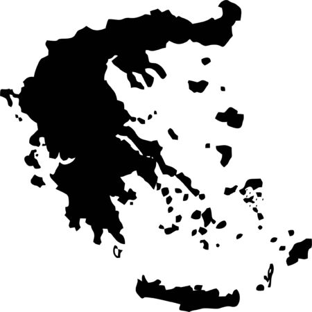 greece: Silhouette maps European country of Greece.