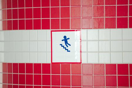 designation: Mark beware stairs designation danger of slipping Stock Photo