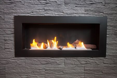 living room wall: Modern indoor fireplace on biofuel. Stock Photo