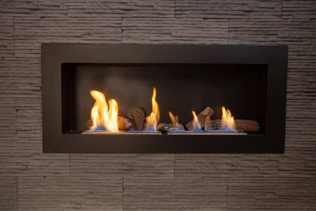 biofuel: Modern indoor fireplace on biofuel. Stock Photo