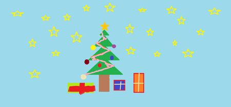 child's drawing: Christmas tree and gifts (childs drawing on the computer)