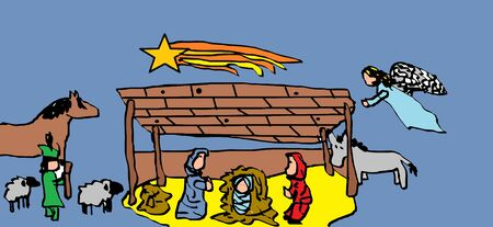 child's drawing: Christmas Nativity scenes (childs drawing on the computer)