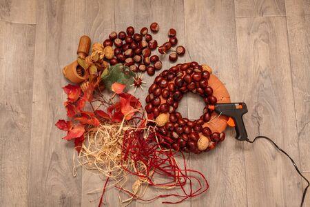 christmas wreaths: Handmade production of Christmas wreaths using weld gun (Shallow DOF).