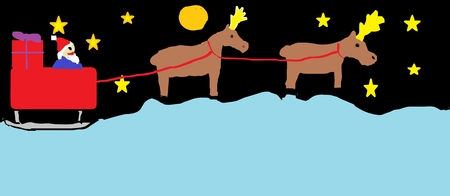child's drawing: Santa Claus on a sleigh distributes gifts (childs drawing on the computer) Illustration