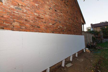 polystyrene: polystyrene insulation brick building (closeup; shallow DOF).