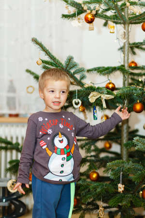 rejoices: Little boy rejoices in front of a Christmas tree.