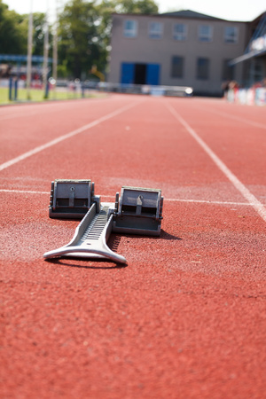 Athletic track. Athletics starting blocks (Shallow DOF).