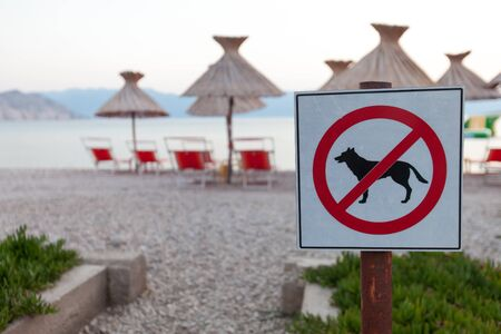 announcing: No entry.  Signs announcing the ban on dogs on the beach. (Shallow DOF)  Focus on brand blurred background.