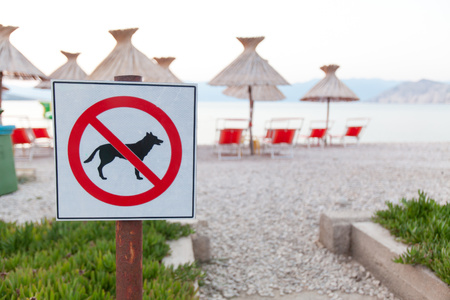 No entry.  Signs announcing the ban on dogs on the beach. (Shallow DOF)  Focus on brand blurred background.