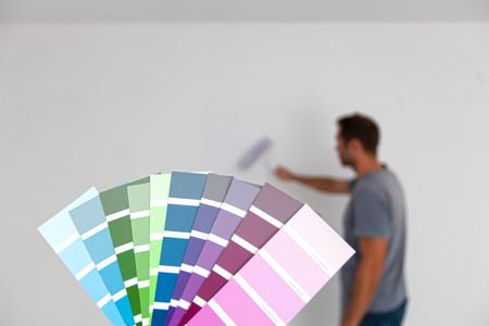 Color swatches for room painting. Young man in background (intentionally blurred) painting. (Shallow DOF)