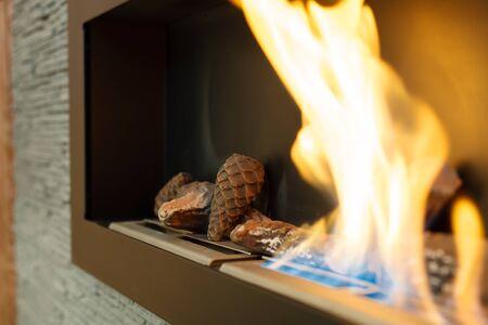 Closeup of an indoor bio-alcohol fireplace. Shallow DOF. Standard-Bild