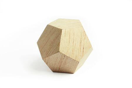balsa: Balsa wood geometrical block, on the white background Stock Photo