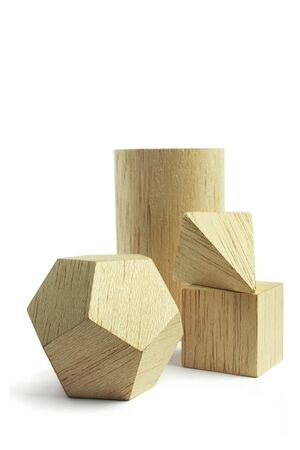 Balsa wood model group, on the white background photo