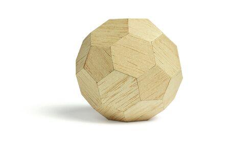 balsa: Ball on balsa hout geometrische blok, op de witte achtergrond Stockfoto