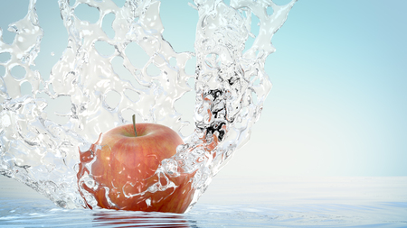 water frozen: Red Apple falling into water. Frozen time. Isolated on white and bright blue background