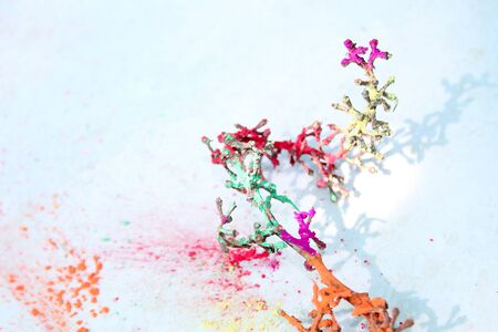 color creativity, Natural wooden color arts with abstract design on white background