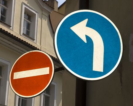 street signs - one way and no entry