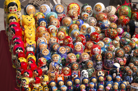 nesting: Matrioshka - Russian Nesting Doll, Moscow, Russia Stock Photo