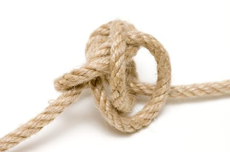 hardly: detail of hardly unbind knot on natural rope