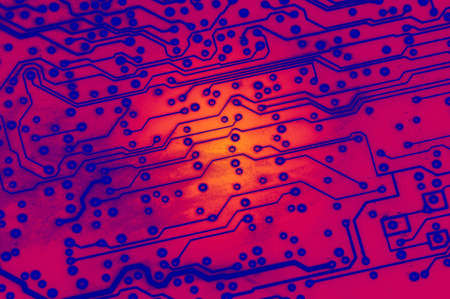 compute: close up of computer component - circuit board
