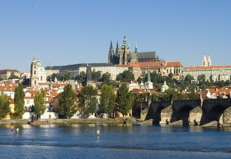 Charles Bridge, Saint Vitus cathedral, Hradcany, Prague, Czech Republic Stock Photo - 2407508