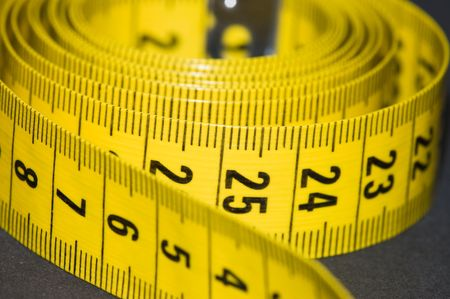 millimetre: Soft plastic yellow measuring tape