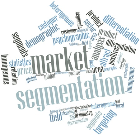segmentation: Abstract word cloud for Market segmentation with related tags and terms