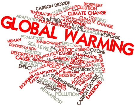 cause: Abstract word cloud for Global Warming with related tags and terms