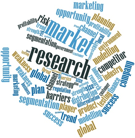 marketing research: Abstract word cloud for Market research with related tags and terms Stock Photo