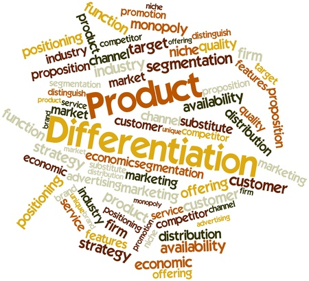 Abstract word cloud for Product Differentiation with related tags and terms photo