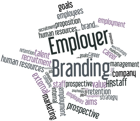 brand: Abstract word cloud for Employer Branding with related tags and terms Stock Photo